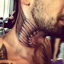 Front View Wings Tattoo On Back Neck