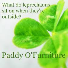What do leprechauns sit on when they re outside