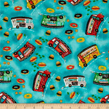 100 Food Truck Friday Tossed Blue Discount Designer Fabric Fabriccom