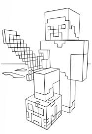 Minecraft Steve With Diamond Sword Coloring Page