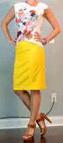 post white floral shirt yellow pencil skirt