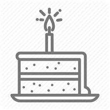 birthday cake candle frosting plate slice wish icon