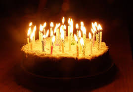 Birthday Cake with Lit Candles 4