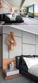 In This Modern Master Bedroom Sculptural Wood Pendant Lights Act As Bedside Lamps While