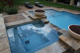 glass tile projects the all tile spa deck waterline and