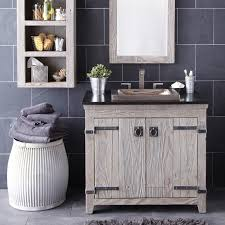 Grey White Bathroom Decorating Using Rustic Solid Aged Wood Vintage Style Vanities Including