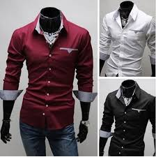 New Fashion Mens Boys Luxury Long Sleeve Casual Slim Fit Stylish Dress Shirts Black White Wine Red M XXXL Free Ship In From Clothing