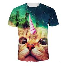 cat t shirts mens brand new 3d colorful printing galaxy cat conch t shirts slim