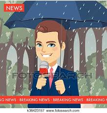 Clip Art Of Raining Weather News Reporter K36423157