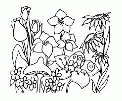Spring Flower Garden Coloring Pages For Kids