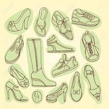 Big Set Of Different Shoes Vector Illustration Hand Drawing 14 Pairs
