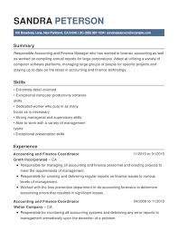 Accounting Finance Chronological Resumes