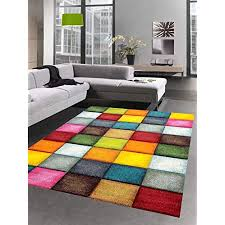 carpetia teppich modern teppich wohnzimmer karo bunt gelb rot blau grün größe 120x170 cm