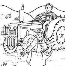 Rabbit Family Farmer Coloring Page