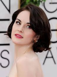 Save Michelle Dockery Vintage Short Dark Brown Bob Haircut For Bridesmaid Weddings Round Face Shapes Like This Hairstyle