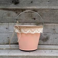 Rustic Flower Girl Bucket Peach Pail With Cream Lace Wedding Decor