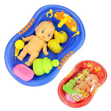 Baby Doll In Bath Tub With Shower Accessories Set Kids Pretend Role