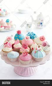 Afternoon Tea Array Baked Blue Buffet Cake Stand Cakestand Choice Cup Cakes Cupcake Decorated Dessert English Fairy
