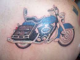 Harley Davidson Bike Mountains Tattoo On Back In 2017 Real Photo