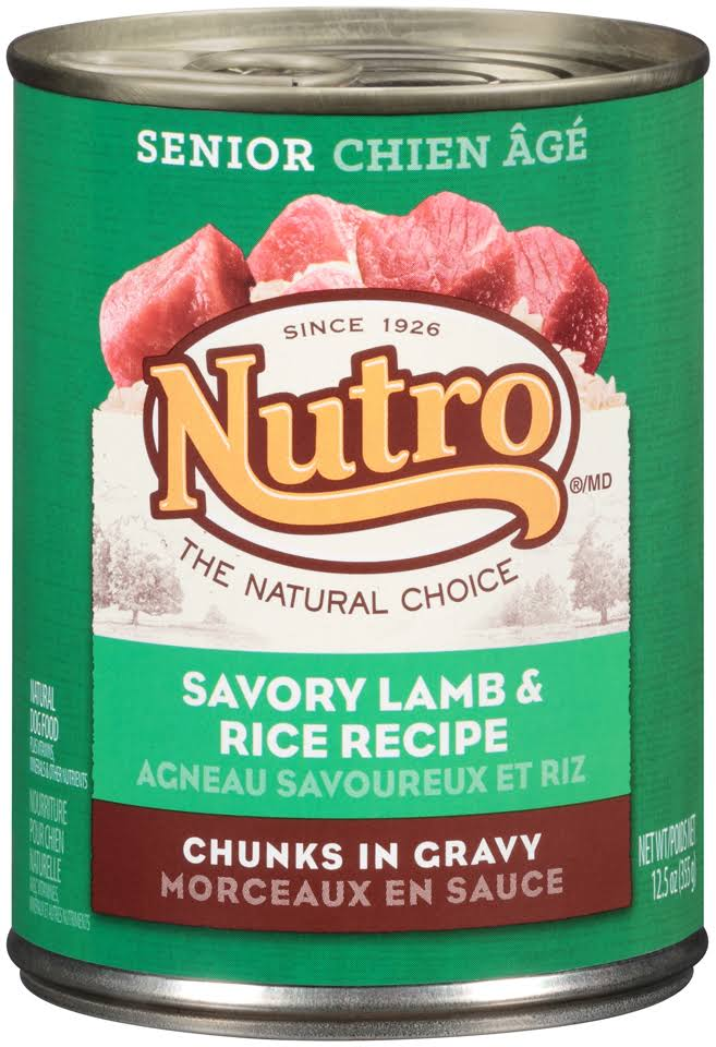 Nutro 50411575 Savory Lamb & Rice Recipe Chunks in Gravy Can Senior Dog Food - 12.5oz