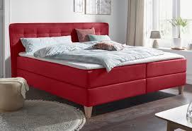 boxspringbett mit federkern h2 rot material buche federn holz polyester ascola delavita