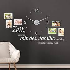 klebeheld wandtattoo uhr familienzeit fotorahmen und spruch für wohnzimmer und wohnbereich farbe schwarz größe 120x69cm b x h uhr schwarz