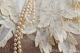 Vintage Lace Handkerchief And Pearls Royalty Free Stock Photos