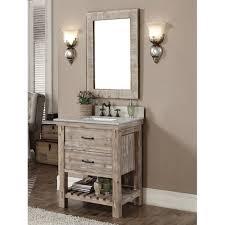 Accos 30 Inch Rustic Bathroom Vanity With Matching Wall Mirror