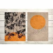 2er set poster wohnzimmer sonne blätter vögel trendfarbe erdiges beige und rostorange moderne dekoration
