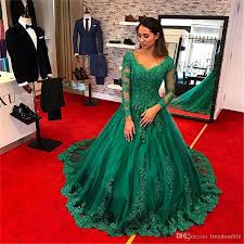 elegant emerald green evening dresses 2017 long sleeve ball gown