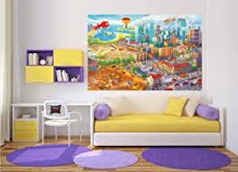 great fototapete kinderzimmer comic style wandbild dekoration wimmelbild großstadt baustelle hubschrauber flugzeug bagger