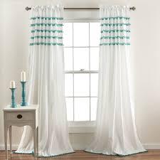 Lush Decor Window Curtains by Lush Decor Aria Pom Window Curtain Panel Aqua Blue Size Trim For