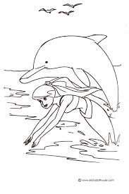 Coloring Pages Of Mermaids And Dolphins 12 Mermaid Barbie Swimming With Dolphin