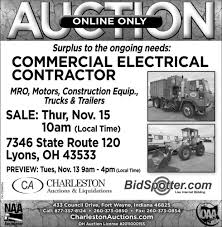 Commercial Electrical Contractor, Charleston Auction & Liquidation ... Charleston Auctions Past Projects The Auburn Auction 2018 Worldwide Auctioneers Fort Wayne Auto Truck 2ring And Trailer 1fahp53u75a291906 2005 White Ford Taurus Se On Sale In In Fort Mquart Farm Equipment Wendt Group Inc Land 2006 Hiab 255k3 Boom Bucket Crane For Or South Dakota Pages Around Fankhauser Farms Sullivan Auctioneersupcoming Events End Of Year Noreserve