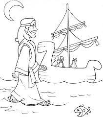 Jesus Walks On Water Coloring Superb Page