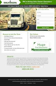 100 National Trucking Customlandingpage Created For A National Trucking Company Campaign
