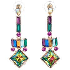 100 Art Deco Shape Butler Wilson Square Shape Drop Art Deco Short Earrings Multi