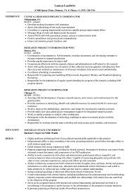 100 Project Coordinator Resume Research Samples Velvet Jobs
