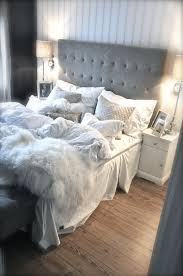 Large Headboard Grey And White Bedroom
