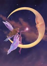 Fairy Sitting On A Crescent Moon Blowing Kisses