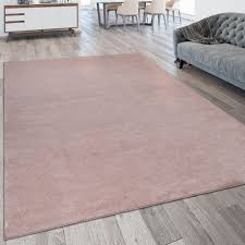 pile rug washable one colour pink