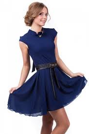 cocktail dress navy blue formal chiffon dress dress knee length