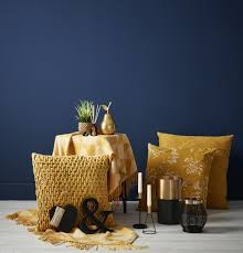 100 Ochre Home Home Accessories Pop Beautifully Against Navy Blue