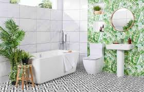 tropical wallpaper bathroom ideas