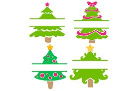 Christmas Tree Split Design Monogram Frames