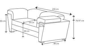 taille canapé dimension canape 2 places