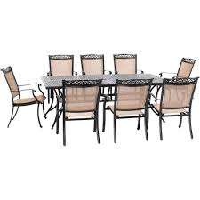 Hanover Fontana 9-Piece Aluminum Outdoor Dining Set With 8 Sling Chairs And  A 42 In. X 84 In. Cast-Top Table Patio Chairs At Lowescom Outdoor Wicker Stacking Set Of 2 Best Selling Chair Lots Lloyd Big Cushions Slipcove Fniture Sling Swivel Decoration Comfortable Small Space Sets For Tiny Spaces Unique Cana Qdf Ding Agio Majorca Rocker With Inserted Woven Alinium Orlando Charleston Myrtle White Table And Seven Piece Monterey 3 0133354 Spring China New Design Textile