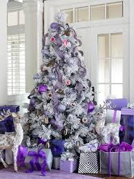 Flocked Christmas Tree Decorating Ideas New Modern Holiday Color Scheme