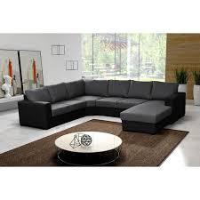 canapé d angle noir cdiscount canapé d angle 6 places oara panoramique pas cher gris noir achat