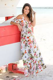 white floral wrap maxi dress with ruffled sleeves maxi dresses